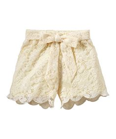 Another great find on #zulily! Cream Scalloped Lace Shorts - Infant, Toddler & Girls #zulilyfinds