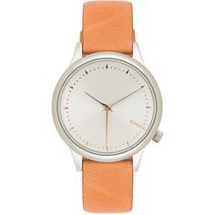 Komono Estelle (€76) ❤ liked on Polyvore featuring jewelry, watches, stainless steel wrist watch, stainless steel watches, quartz movement watches, leather band watches and stainless steel jewellery