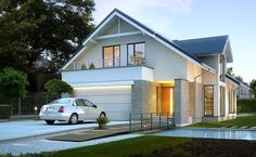 Z Charakterem 3 - wizualizacja 1 - Nowoczesny projekt domu z antresolą przeznaczony  na wąską działkę