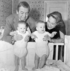 Jimmy and Gloria Stewart and their twin daughters