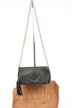 28447072b0a Gucci Soho Chain black leather interlock GG logo shoulder handbag purse  990