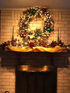 Prelite wreath with gold and green decorations from Hobby Lobby. Battery Operated Christmas Wreath, Pre Lit Wreath, Christmas Wreaths, Christmas Tree, Hobby Lobby, White Light, Light Colors, Different Colors, Things To Come