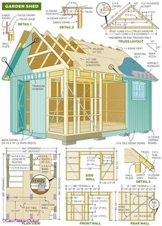 Free 12 x 8 Shed Plan With Illustrations, Blueprints & Step By Step Details. # build a shed # free shed plan # plans for a shed # garden shed plans # storage shed # wood shed plans 8x12 Shed Plans, Wood Shed Plans, Free Shed Plans, Shed Building Plans, Outdoor Storage Sheds, Storage Shed Plans, Outdoor Sheds, Diy Storage, Outdoor Tools