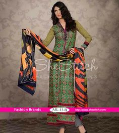 Price USD: $90 - AJL-13_B from Asim Jofa Luxury Lawn Collection 2014 by Asim Jofa is outstanding green outfit.