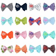 BOW IT UP! Choose from a huge selection of fun prints from marleylilly.com and add your monogram! #bow #hairbow #cute #preppy