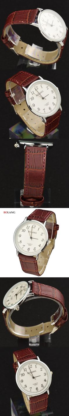BOLANG Male Classic Silver Case Arabic Numerals Quartz Watches 2017 Lovers Couple Casual Men Watch Leather Band Relogio Hodinky