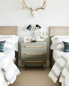 Postbox Designs Boy's Adventure Bedroom Makeover How to Style a Nightstand for One Room Challenge Image Credit: Studio McGee Room Ideas Bedroom, Home Bedroom, Bedroom Decor, Bedroom Kids, Bedroom With Tv, Master Bedroom, Bedroom Brown, Bedroom Beach, Studio Mcgee