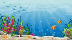 Illustration of Underwater Landscape ,,All elements (AI & EPS format) are 100 vector and fully customizable. Mermaid Drawings, Fish Drawings, Cartoon Drawings, Under The Sea Background, Art Background, Fish Drawing For Kids, Under The Sea Drawings, Underwater Background, Paintings