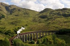 West Highland train, Scotland (they used this to film Harry Potter).  Departs from Fort William.