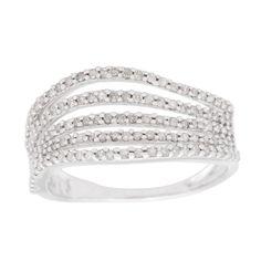 <li>Beautiful multi-row wave band featuring 131 glittering white diamonds set in high-polish 10K gold.</li><li><a href='http://www.overstock.com/downloads/pdf/2010_RingSizing.pdf'><span class='links'>Click here for ring sizing guide</span></a></li>