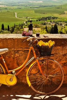 Coky's Tuscany Italy bicycle wine landscape by Galbo Places In Italy, Places To See, Emilia Romagna, Under The Tuscan Sun, Saint Martin, Bicycle Art, Bicycle Painting, Tuscany Italy, Siena