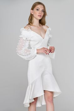 19a11d820bf5 White Swan Sheer Puff Sleeve Midi Dress - (Price: $187.00) #fashionstyle  #fashionweek #fashionable #Dress #shopping #womens #womenstyle #stores  #style