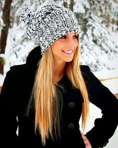 Gorgeous Black Coat With Sweet Knit Cap