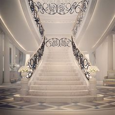 Browse images of classic Corridor, hallway & stairs designs: Interior Design & Architecture by IONS DESIGN Dubai,UAE. Find the best photos for ideas & inspiration to create your perfect home. Residential Interior Design, Luxury Interior Design, Interior And Exterior, Interior Decorating, Grand Staircase, Staircase Design, Stair Railing, Railing Ideas, Railings