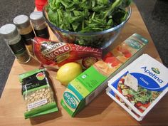Spinach and feta pie ingredients