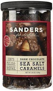Sanders Dark Chocolate Sea Salt Caramels 36 Ounce Container Sweet & Salty Gift