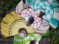 Medium Grey Pearl Shell Woven Palm Fans