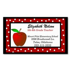 Substitute teacher business card template teacher business cards whimsical polka dots teachers business card this is a fully customizable business card and available wajeb Images