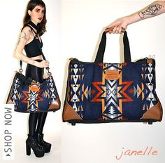 vtg PENDLETON NAVAJO Indian Kilim Wool Ethnic LEATHER Cross Body Purse Tote BAG