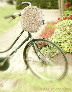 Green Bike White Basket