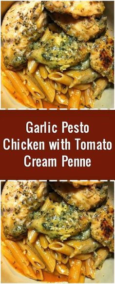 Garlic Pesto Chicken with Tomato Cream Penne - Best Food Recipes - Chicken recipes healthy Garlic Pesto Chicken, Chicken Pesto Recipes, Walnut Chicken Recipe, Chilli Chicken Recipe, Easy Pasta Recipes, Healthy Crockpot Recipes, Different Chicken Recipes, Tomate Mozzarella, Chicken