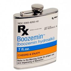 The only cure for low spirits is the Wild Eye Designs RX Boozemin Flask. This playful prescription-themed flask is perfect for adding some fun to your next get together. The design holds 7 oz. of whatever medicine the doctor orders. Whisky, Vodka, Tequila, Weird Gifts, Grafik Design, Boyfriend Gifts, Girlfriend Gift, Packaging Design, Barware