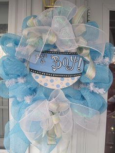 Baby boy wreath deluxe deco mesh newborn gift by frontdoorcouture, $55.00