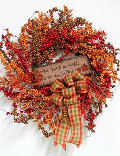 May Your Harvest Be Plentiful, Thanksgiving Wreath Thanksgiving Wreaths, Autumn Wreaths, Christmas Wreaths, Thanksgiving Ideas, Holiday Ideas, Porch Decorating, Decorating Ideas, Decor Ideas, Craft Ideas