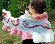 Peach Blossom nuno felted silk scarf pink and by artbynamaste
