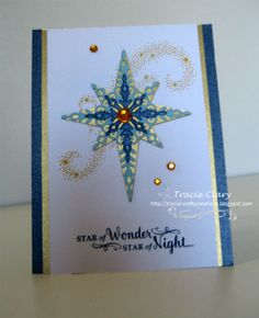 I used several colors of blue for this card.  Love the stars.  Thanks for a wonderful challenge using my favorite color.
