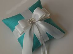 Tiffany Blue Ring Pillow with White Bow and Rhinestones ❤
