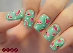 10 Watermelon Nail Art Ideas For The Summer nails nail nail art nail designs watermelon nails Fancy Nails, Love Nails, Pretty Nails, My Nails, Watermelon Nail Designs, Watermelon Nail Art, Watermelon Fruit, Food Nail Art, Fruit Nail Art