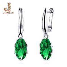 2017Fashion charm green Zircon stainless steel Earring Punk Style Stud brincos Earrings for women cuff Jewelry statement JINQUAN