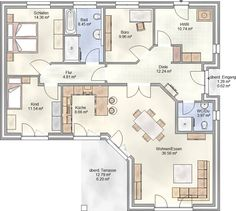 PLAN 132 – unser Winkelbungalow mit über 130 m² Grundriss – ein Bungalow mit … PLAN 132 – our angular bungalow with over 130 m ย ฒ floor plan – a bungalow with a covered terrace Bungalow Floor Plans, Bungalow House Design, House Floor Plans, New House Plans, Dream House Plans, Small House Plans, 3d Home, Sims House, Facade House