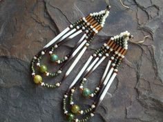 Beaded Earrings with Genuine Porcupine Quills,Native American Style,Olive Green/Amber/Bone,Navajo,Dangle,Bohemian,Quill Jewelry,Tribal. $12.00, via Etsy.