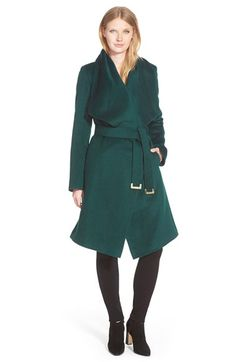 Diane von Furstenberg 'Harlow' Drape Collar Wool Blend Wrap Coat | my perfect coat