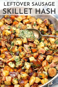 This is one of my favourite potato and sausage recipes because it's easy is a great for a fast weeknight dinner. The whole family will love this, plus it uses up your leftover cooked sausages! #chefnotrequired #sausages Leftover Rotisserie Chicken, Leftover Chicken Recipes, Leftovers Recipes, Leftover Mashed Potatoes, Sausage Potatoes, Weeknight Meals, Healthy Dinners, Sausage Recipes, Yummy Recipes