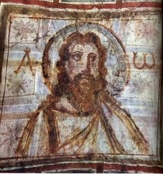 Catacombs of Commodilla · Catacumbas de Commodilla. Jesus Painting, Mural Painting, Early Christian, Christian Art, Religious Icons, Religious Art, Image Du Christ, Rome Catacombs, Fresco