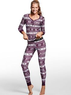 PINK Thermal Sleep Henley (Black Orchid/Holiday Fair Isle P43 - Small) // Victoria's Secret