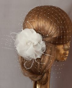 WEDDING BRIDAL BIRDCAGE VEIL Unique Ivory Flower by ancoraboutique, $79.00