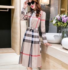 Casual Turndown Collar Long Sleeves Plaids Print Beige Cotton Blend Mid Calf Dress (With Belt)