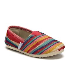 Red & Yellow Stripe Stitch Slip-On Shoe