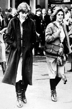 Lady Diana Spencer and Camilla Parker-Bowles at Ludlow racecourse in 1980 - Diana knew her husband was having an affair with Camilla.