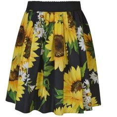 Dolce And Gabbana Girasoli Sunflower Skirt (€510) ❤ liked on Polyvore featuring skirts, black, pleated skirt, knee length skirts, sunflower skirt, cotton elastic waist skirts and cotton pleated skirt