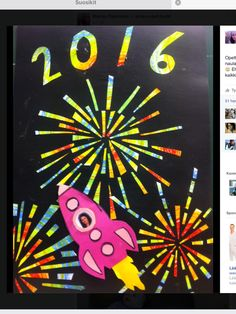 Marika Papinaho / Fb Alkuopettajat New Year's Crafts, Arts And Crafts, Drawing For Kids, Art For Kids, January Art, Celebration Day, 5th Grade Art, 4th Of July Fireworks, Winter Project