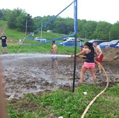 Mud volleyball no freakin way!!!  i love this idea want to do this so bad!