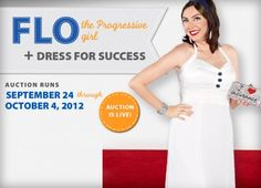 """Progressive is teaming up with designer Candice Held to raise money for Dress for Success, a nonprofit that provides job-interview attire for women who can't afford it. Between now and Oct. 4, you can bid on a one-of-a-kind Candice Held dress that Flo wore in """"red carpet"""" magazine ads earlier this year."""