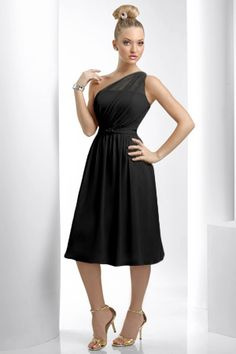 nice length. not low cut. love the one shoulder. I like this one for bridesmaids :)