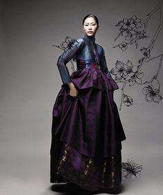 Elegant blue - purple Hanbok