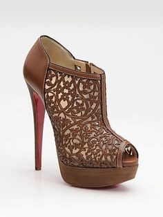 Christain Louboutin Pampas Laser-Cut Leather Ankle Boots